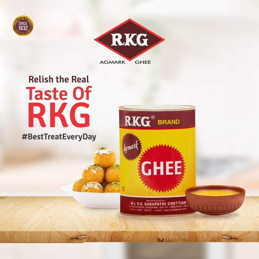 RKG is in rich flavored ghee is made from traditional churned butter; which in turn is processed from curd. A slow boiling method is applied to retain the rich flavour and traditional aroma. The richness in the texture is due to the usage of fresh nutrient rich milk.